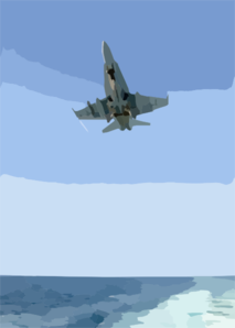F/a-18 Hornet Makes Arrested Landing Aboard A Carrier At Sea. Clip Art