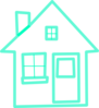 Very Light Turquoise House 3 Clip Art