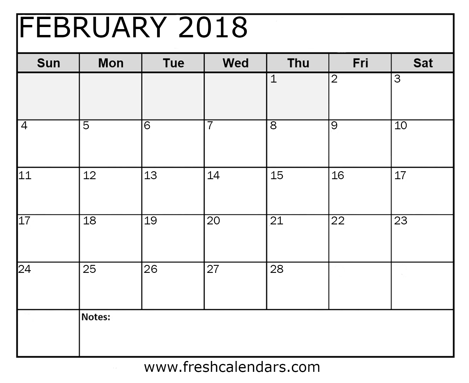 february calendar printable word pdf format with notes