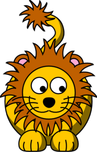 Lion Looking Right-down Clip Art