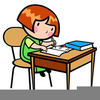 Child Working At Desk Clipart Image