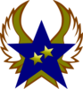 Blue Star With 2 Gold Star And Wings Clip Art