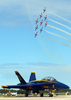 The   Canadian Snowbirds  Fly Nine Ct-114   Tutors  Over One Of The Blue Angels F/a-18  Hornets  During The   2002 Neptune Festival Air Show. Image