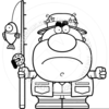 Fisherman Clipart Black And White Image