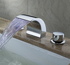 Chrome Finish Led Waterfall Contemporary Widespread Bathroom Sink Faucet--faucetsuperdeal.com Image