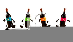 Dancing Wine Bottle Clipart Image
