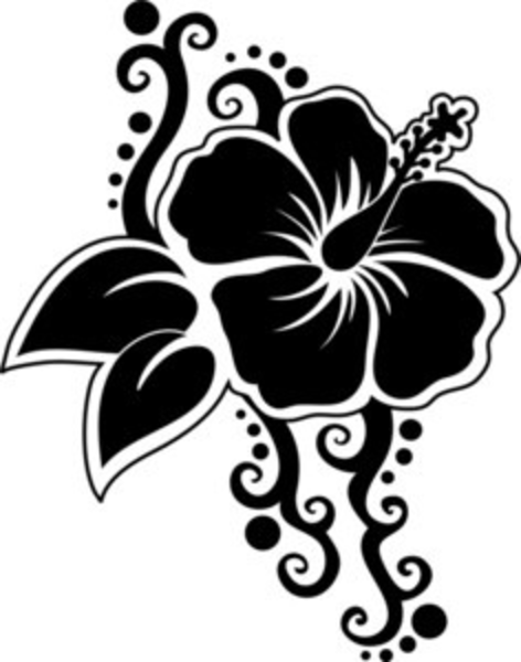 Hawaiian Flower Line Drawing : Silhouette of a hibiscus flower smu free images at clker