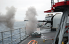 76mm Gun Mount On Navy Frigate Conducts Target Practice. Image
