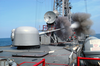 The 62 Caliber Three-inch Gun Aboard The Guided Missile Frigate Uss Curts (ffg 38) Fires A Projectile Off The Ship S Port Side. Image