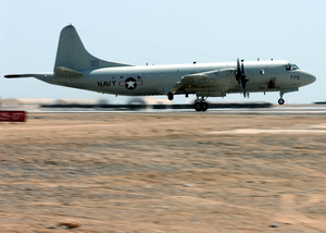 A U.s. Navy P-3c Orion Patrol Aircraft Takes Off On A Mission From A Forward Deployed Location In Support Of Operation Enduring Freedom. Image