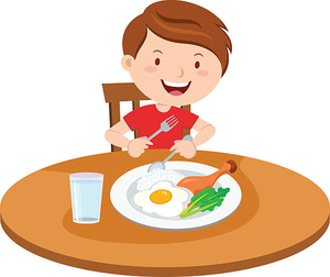 Kid Eating Breakfast Clipart Image