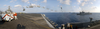 This Panoramic View Consists Of The Military Sealift Command Ammunitions Ship Usns Mt. Baker (t-ae 34) As It Pulls Alongside Uss Harry S. Truman (cvn 75) Image