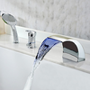 Chrome Finish Contemporary Multi Color Led Widespread Waterfall Tubfaucet With Hand Shower--faucetsuperdeal.com Image
