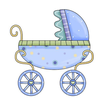 Blue Baby Carriage Clipart Image