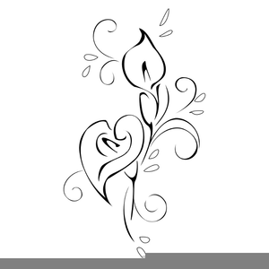 Lovely Lily Line Art Easter Clipart Image