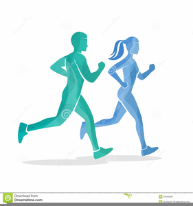 Man And Woman Running Clipart Image
