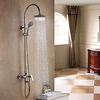 Contemporary Rain Shower Chrome Finish Brass Three Holes Single Handle Shower Faucet--faucetsuperdeal.com Image