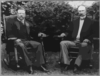 [president Theodore Roosevelt And Vice President Charles Fairbanks, Seated In Rocking Chairs On A Lawn] Clip Art