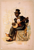 [african American In Tuxedo And Top Hat, Seated, Playing Banjo] Image
