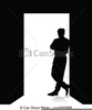 Man Leaning Against Wall Clipart Image