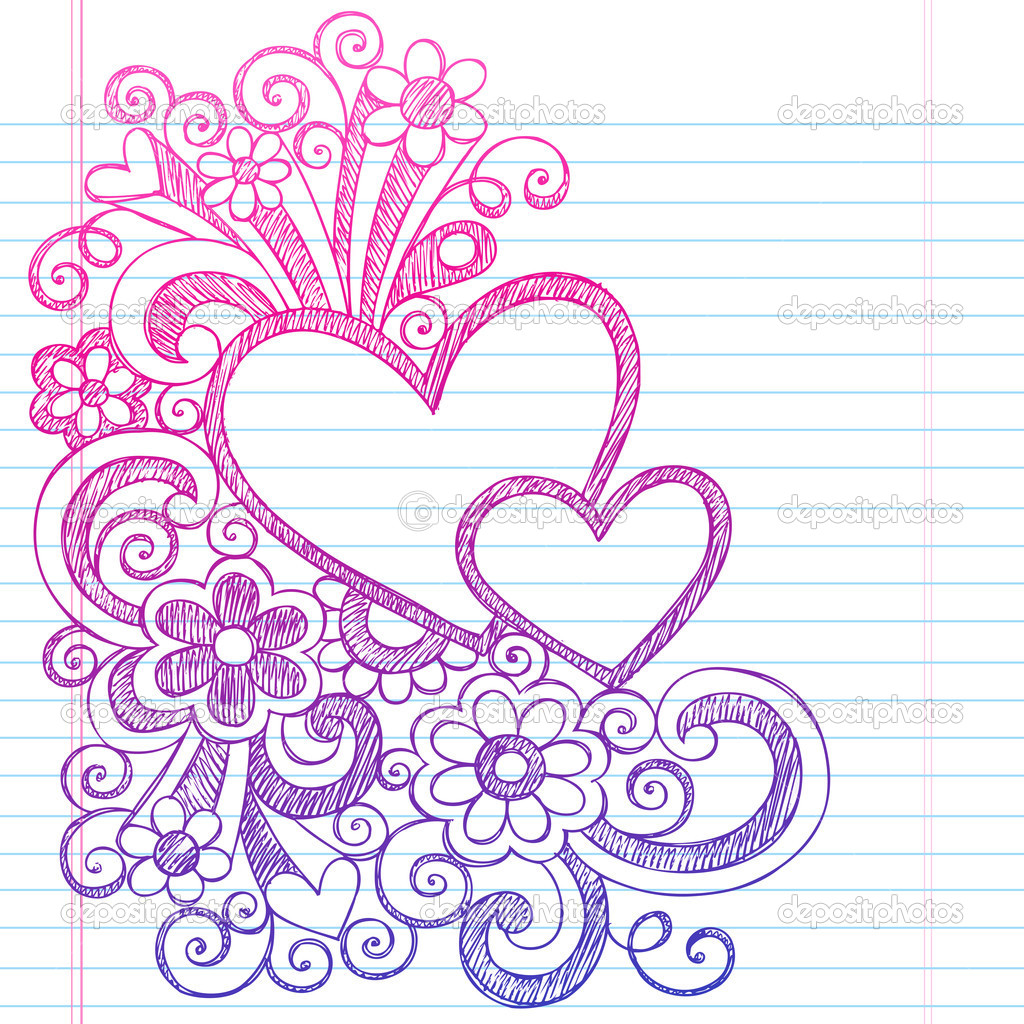 Depositphotos love hearts frame border back to school for Love doodles to draw