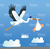 Baby And Stork Clipart Image