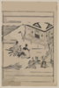 [scenes Related To The Soga Family - Two Warriors Praying In Front Of A Shrine While Retainers Hold Their Horses] Clip Art