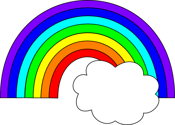 Rainbow With One Cloud Clip Art At Clker.com
