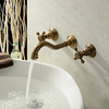 Antique Inspired Polished Brass Finish Bathroom Sink Faucet Image