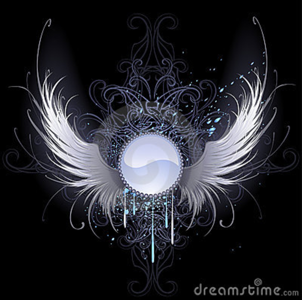 Gambar Angel Heart: Round Banner With Angel Wings Thumb
