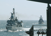 German Navy Ship Fgs Lubeck (f 214) And Russian Navy Ship Rfs Nastoychivyy Image