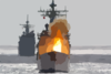 Uss Chancellorsville Fires A Surface-to-surface Standard Missile Clip Art