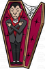 Vampire In Coffin Clipart Image