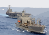 Uss Harry S. Truman (cvn 75) Comes Alongside The Military Sealift Command Oiler Usns John Lenthall (t-ao 189) For An Underway Replenishment (unrep). Clip Art