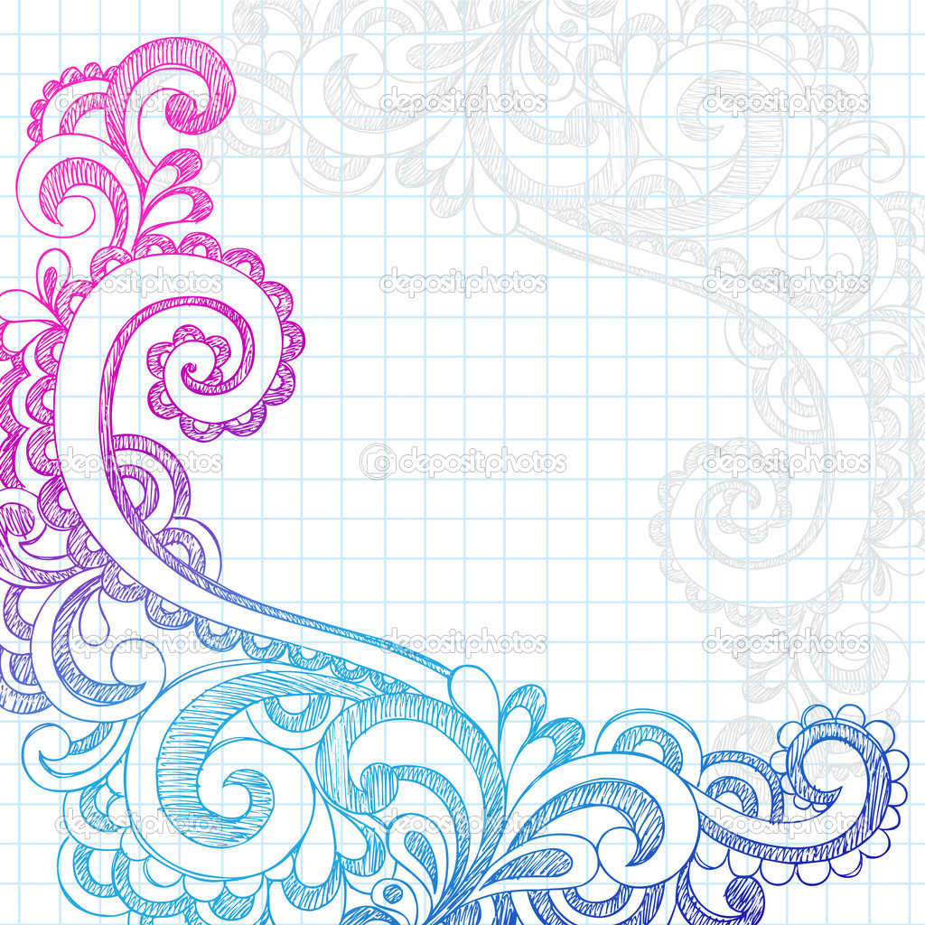 Depositphotos paisley sketchy doodle page border vector for Simple designs on paper