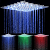 Chrome Finish Contemporary Rectangular Temperature Controlled Colors Led Shower Head--faucetsuperdeal.com Image