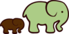 Brown And Green Elephant Mom & Baby Clip Art