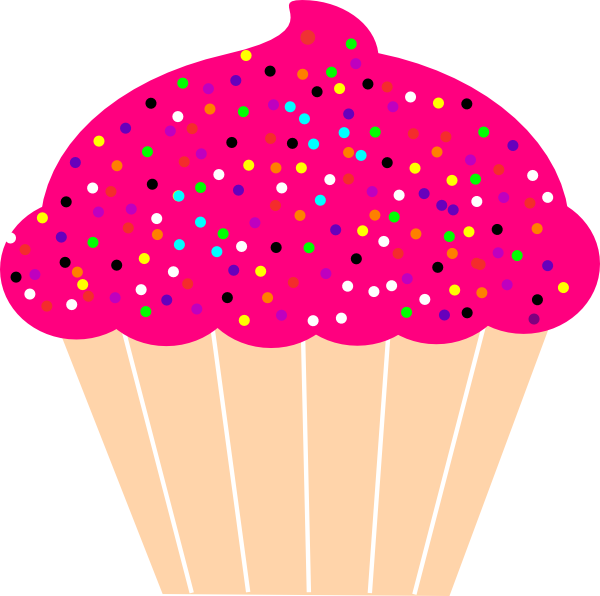 cupcake with pink frosting and sprinkles clip art at clker clip art cupcake may clip art cupcake borders