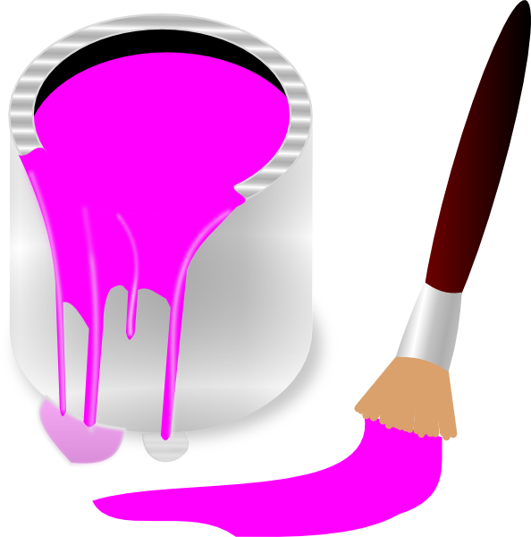 Clipart Pink Paint Bucket And Paint Brush Clip Art At