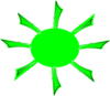 Green Radiating Sun Clip Art