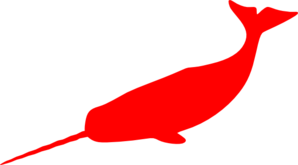 Red Narwhal Clip Art