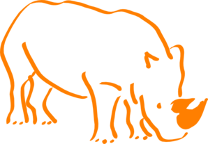 2 Horn Orange Rhino Clip Art
