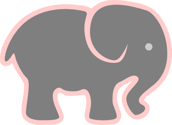 Grey Elephant With Pink Clip Art At Clker