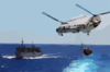 A Ch-46d Sea Knight  Lifts A Full Load From The Aircraft Carrier Uss Carl Vinson (cvn 70) To The Fast Combat Support Ship Uss Sacramento (aoe 1), While The Guided Missile Cruiser Uss Antietam (cg 54) Follows Close Behind Clip Art