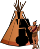 Native American With Teepee Clip Art