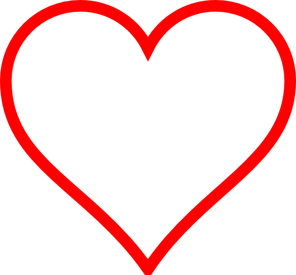 White Heart W/ Red Outline Clip Art at Clker.com - vector ...