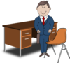 Teacher / Manager Between Chair And Desk Clip Art