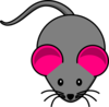 Pink Ear Gray Mouse Clip Art
