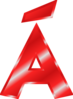 Effect Letters Alphabet Red: Á Clip Art