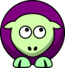 Sheep 2 Toned Green And Purple Looking Up Right Clip Art